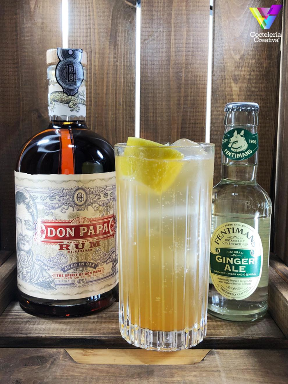 imagen cóctel Don Papa Highball Chai con botella de Don Papa y de Fentimans