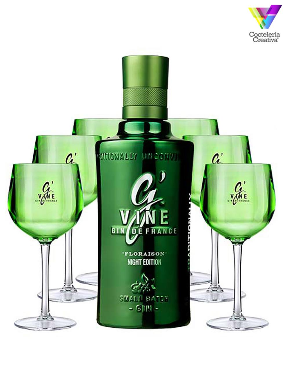 imagen de la botella de gvine night edition con copas de regalo
