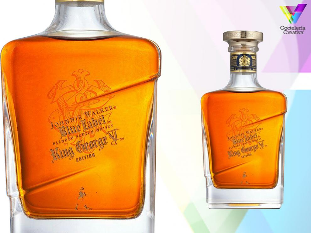 imagen del whisky Johnnie walker blue label king george v edition con detalle de etiqueta