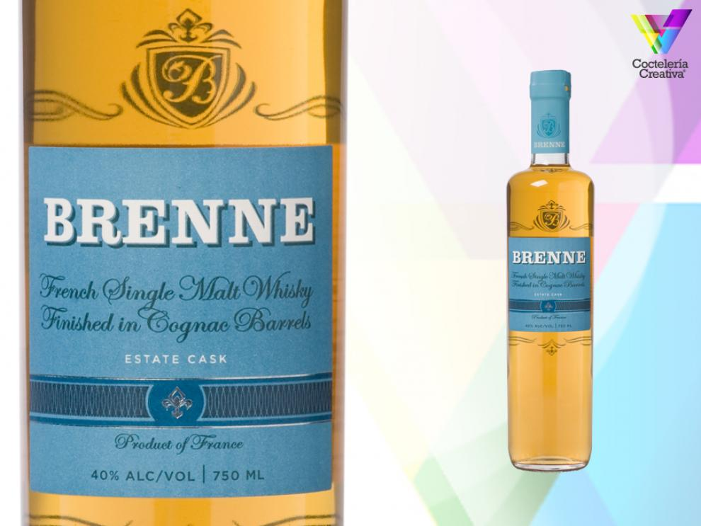 imagen de la botella de brenne french single malt whisky con detalle de la etiqueta