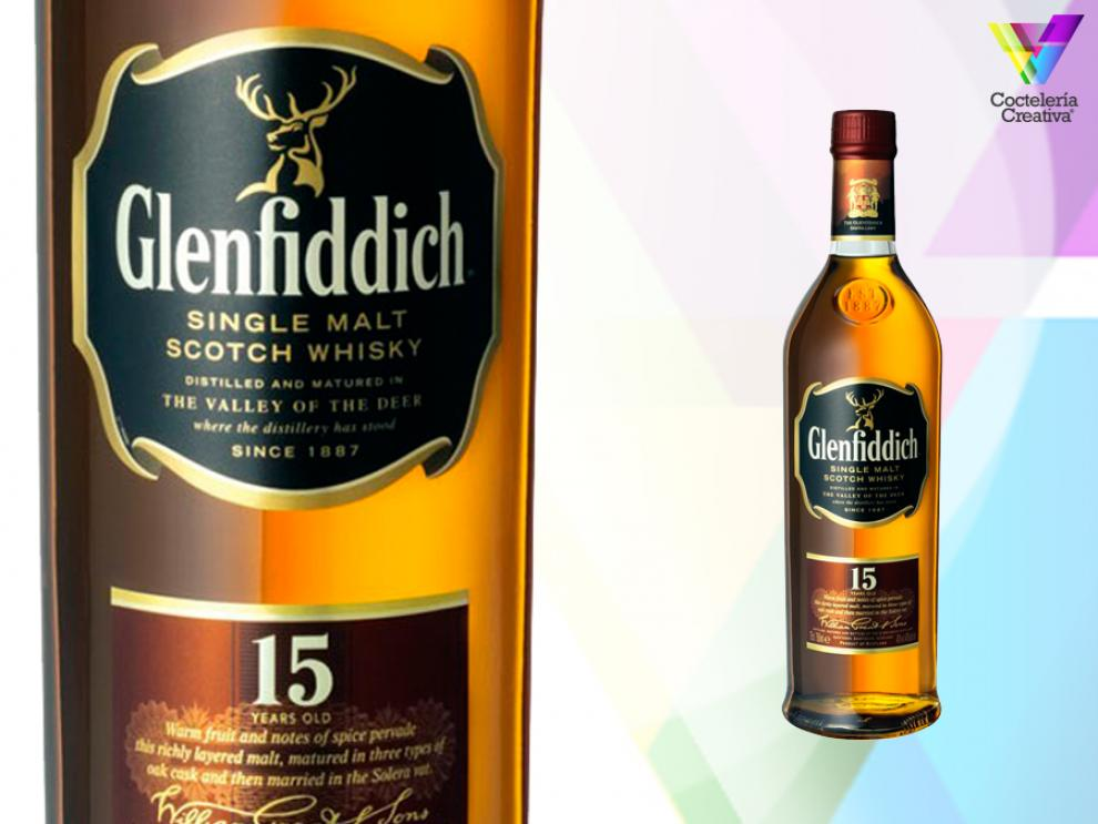 imagen de la botella de glenfiddich 15 years old single malt scotch whisky
