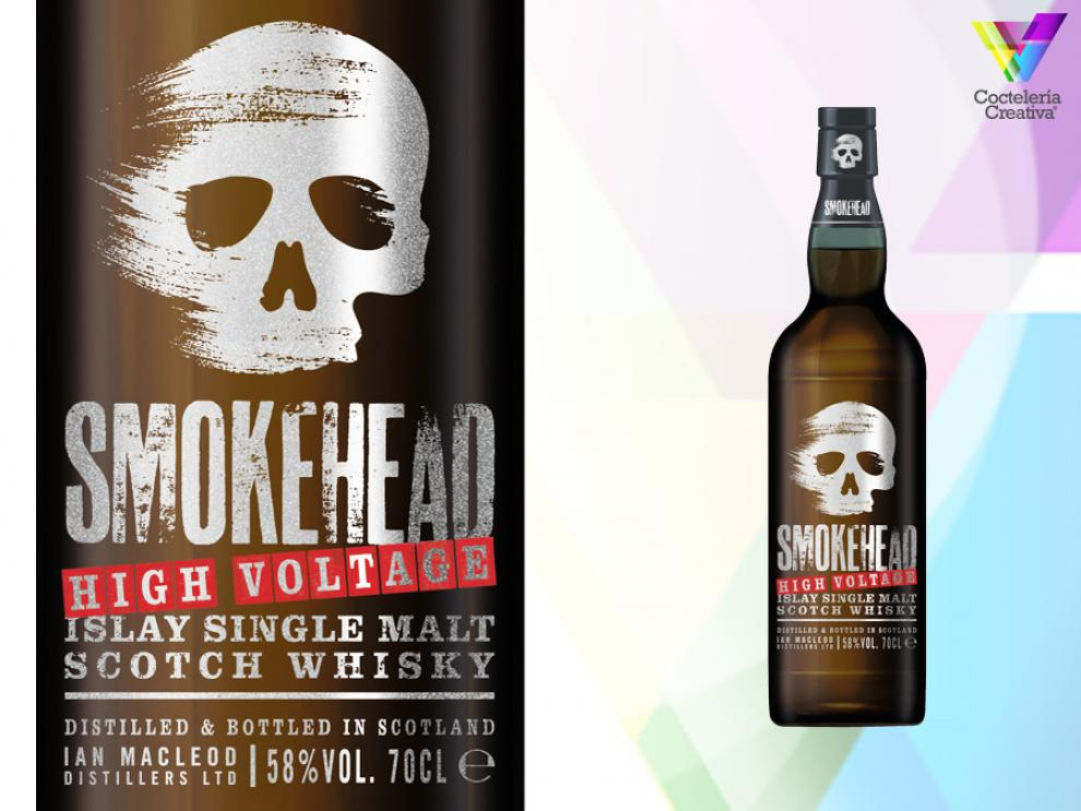 imagen de botella de skomekead high voltage islay single malt scotch whisky con detalle de la etiqueta